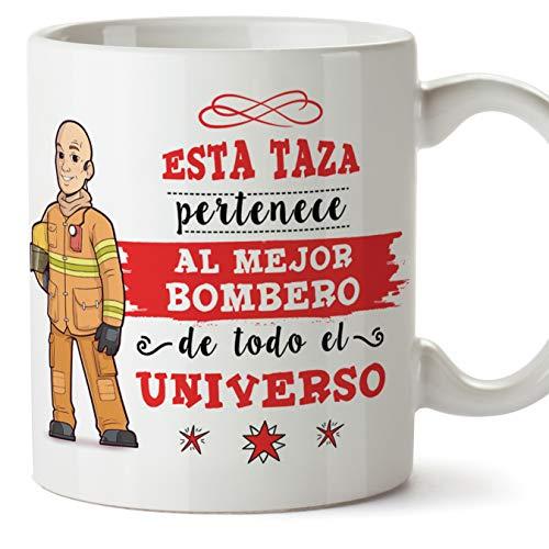 MUGFFINS Bombero Tazas Originales de café y Desayuno para Regalar a Trabajadores Profesionales - Esta Taza Pertenece al Mejor Bombero del Universo - Cerámica 350 ml