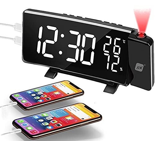 NK Radio Despertador Digital, Radio Despertador Proyector, Puerto USB, Rotación de 180, Pantalla Curva, Alarma Dual, Radios FM, 4 Brillo de Proyección, Color Negro