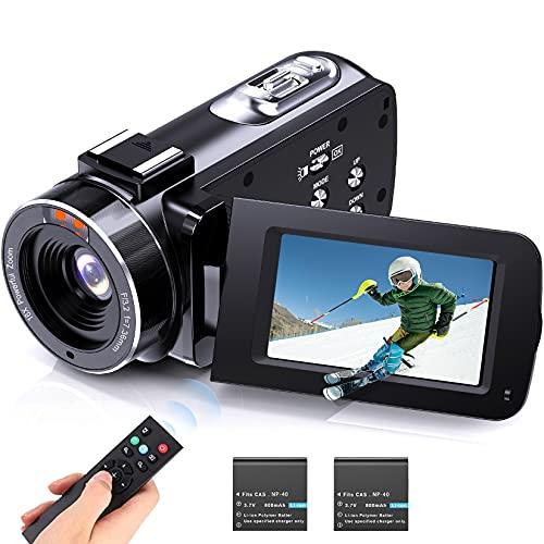 """FamBrow Videocámara Cámara de Video Full HD 1080p 36MP videocamara con Zoom Digital 16X Función de Pausa con LCD de 3.0 """"y Pantalla de rotación de 270° Cámara de Video grabadora con Control Remoto"""