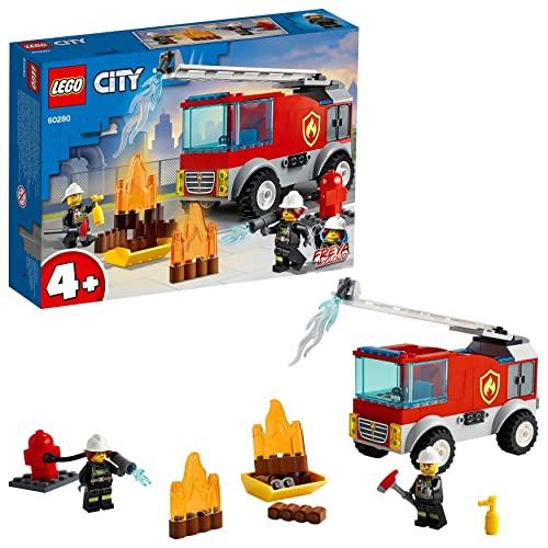 LEGO 60280 City Bomberos, Camión de Bomberos Juguete con Escalera y Mini Figura de Bombero, Idea de Regalo para Niños y Niñas +4 Años