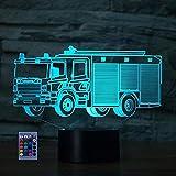 3D Camion de Bomberos Lámpara Luz Nocturna 7/16 Colores Control Remoto USB Power Juguetes Decoración Navidad Cumpleaños Regalo