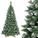 FairyTrees Árbol de Navidad Artificial Pino, Natural Blanco nevado, Material PVC, piñas verdaderas, Soporte de Madera, 120cm, FT04-120