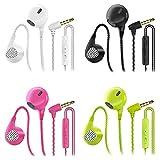 CBGGQ Auriculares in-ear con micrófono, 3,5 mm con cable para ajustar el volumen, estéreo, graves profundos, Aislamiento de Ruido, para IOS y Android smartphones(Negro+blanco+rosa+verde 4 Pares)