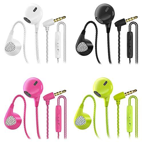 CBGGQ 4 Pares Auriculares In Ear con Micrófono, 3,5 mm con Cable para Ajustar el Volumen, Estéreo, Graves Profundos, Aislamiento de Ruido, para iOS y Android Smartphones (Negro+Blanco+Rosa+Verde)