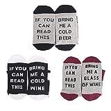 PROACC 3 Conjuntos de Calcetines de algodón de la Comodidad Calcetines Amantes del Vino, cumpleaños, Hombres, Mujeres, Madre o Padre Regalo, Esposo, Esposa o Amigo
