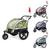 SAMAX Remolque de Bicicleta para Niños 360° girable Kit de Footing Transportín Silla Cochecito Carro Suspensíon Infantil Carro en Verde - Silver Frame