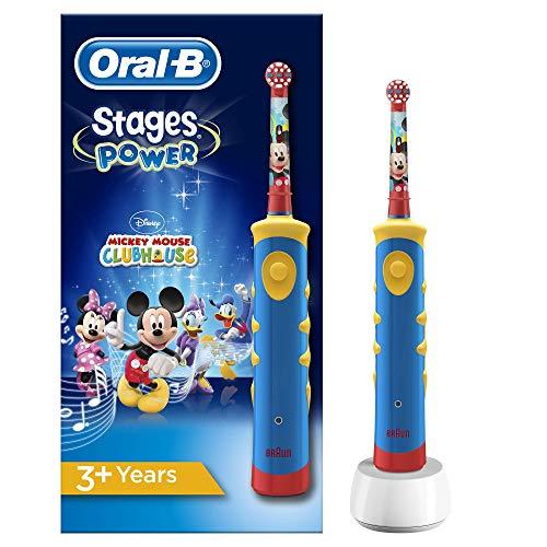 Oral-B Niños Cepillo De Dientes Eléctrico, 1 Mango De Mickey Mouse Recargable Con Tecnología De Braun, Apto Para Niños Mayores De 3 Años
