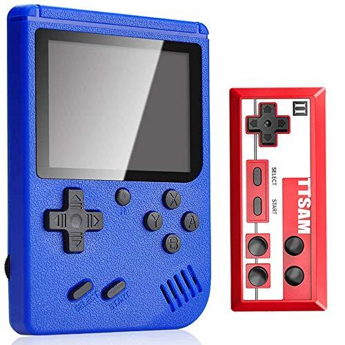 Tanouve Consola Retro, Videoconsolas Consola de Juegos Portátil con 400 Juegos Clásicos Pantalla LCD 3 Pulgadas Soporte Conectar TV 2 Jugadores para Hombres Amigos en Navidad-Azul