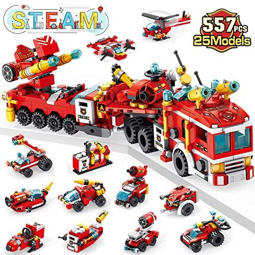 LUKAT Juguetes de Camiones de Bomberos para niños, 557 Piezas de Juguetes de construcción para niños de 6 años, Kit de construcción de Coche 25 en 1, niños de 6 7 8 9+ años o más