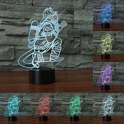 RUMOCOVO® 3D Bombero Mesa Lámpara LED USB Táctil 7 Colores RGB Bombero Luz De Noche Luminaire Regalo Hogar Iluminación