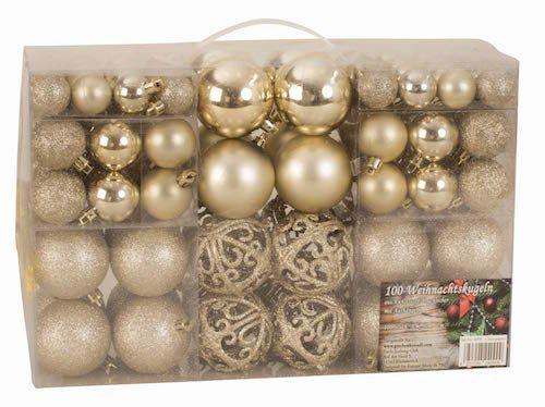 100 bolas de navidad color champan