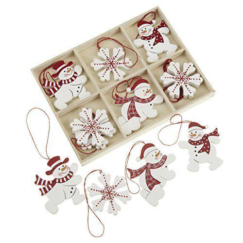 12 adornos navidad madera