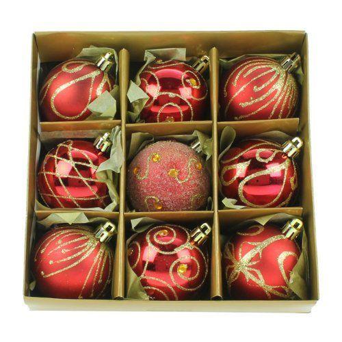 9 bolas de navidad rojas y doradas