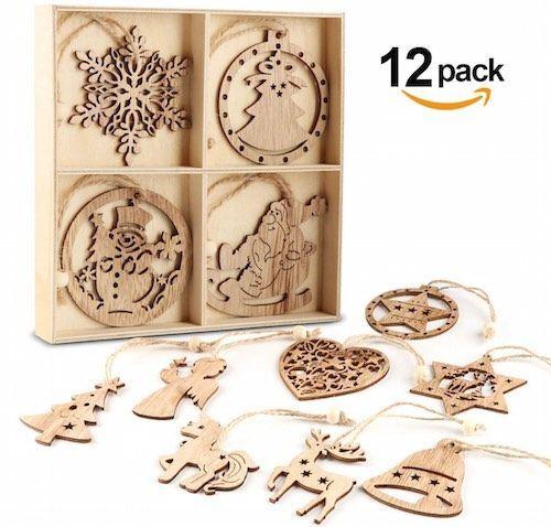 pack de 12 adornos de navidad de madera