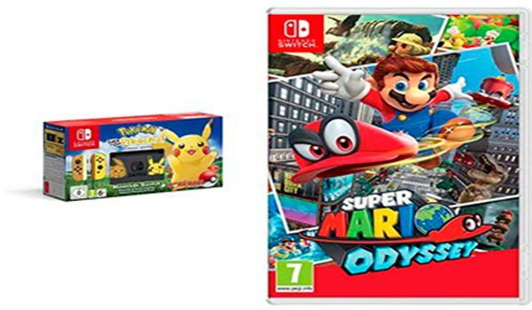 Pack Nintendo Switch Edición Pokémon + Let's Go Pikachu (preinstalado) + Poké Ball Plus + Super Mario Odyssey