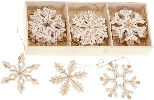 adornos Navidad madera blancos