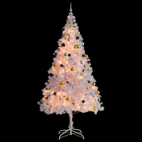 árbol Navidad blanco decorado 210 cm